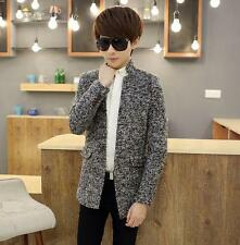 Winter Mens Wool Blend fur lined thicken Coats Slim fit collar Jackets Overcoat