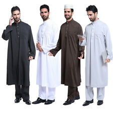 Solid Color Men Omani Qatari Dishdasha Jubbah Jubba Arab Kaftan Thobe Clothing