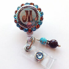 TURQUOISE DAMASK INITIAL BLING RETRACTABLE ID BADGE HOLDER LANYARD