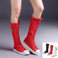 New Girls' Women's Canvas knee high shoes Flat Lace Up boots fashion sneakers
