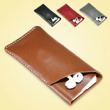 Genuine Leather Carry Pouch Sleeve Card Holder For iPhone Case Samsung Sony LG