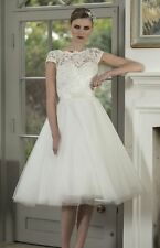 New Knee Length Short White/Ivory Lace Bridal Gowns Wedding Dress Stock Size6-16