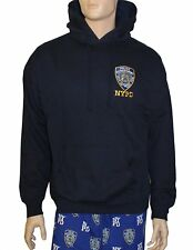 NYPD NEW YORK POLICE DEPARTMENT NAVY EMBROIDERED LOGO SLEEVE HOODIE MENS UNISEX