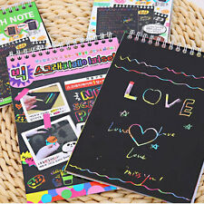 10Sheet Colorful Kid Scratch Art Painting Paper Book With Free Drawing Stick