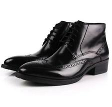 Mens Leather oxford brogue lace up ankle boots Casual Wingtip Dress formal shoes