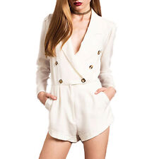 Women Sexy Short Jumpsuits Blazer Casual Long Sleeve Buttons Rompers Playsuits