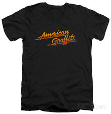 American Grafitti - Neon Logo V-Neck Apparel T-Shirt - Black