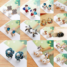 Hot Fashion Women Lady Girls Crystal Rhinestone Flower Ear Stud Earrings Gift