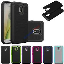 For Motorola Moto E3 Hybrid Dual Layer Hard Grid Armor Case Skin Phone Cover
