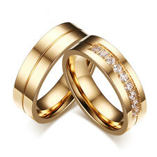 Women Men Wedding Bands Rings For Love 18K Gold Plated CZ Stainless Steel Ring