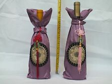 "Handmade Embroideries Fabric Wine Bottle Gift Wrap Tote Bottle Cover 5.5"" x 12"""