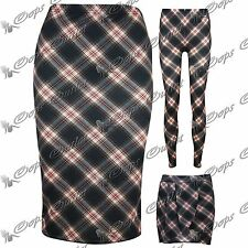 Womens Ladies Midi Leggings Tartan Checked Calf Length Bodycon Mini Short Skirt
