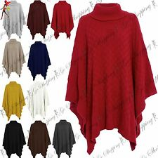 Ladies Knitwear Wrap Polo Neck Grid Knitted Poncho Womens Cape Shawl Jumper