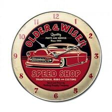 Hot Rod Older Wiser Speed Shop Metal Clock Man Cave Garage Body Shop Club fsc026