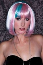 Ladies Fancy Dress Costume Wig - Light Pink and Blue Costume Wig (0185)