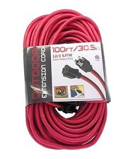 25-100ft 12AWG 12/3 Indoor Outdoor Heavy Duty Power Extension Cord Cable Red UL