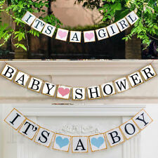 New Its A Boy Girl Kids Shower Prop Party Bunting Garland Paper Hanging Banners