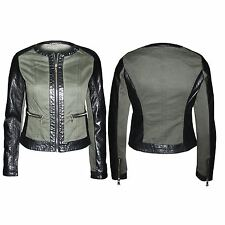 Ladies Pvc Pu Leather Military Blazer Sleeves Zip Faux Womens Coat Biker Jacket
