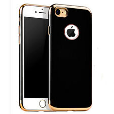 Glossy Jet Black Electroplating Soft TPU Silicone Case Cover for iPhone 7 7 Plus