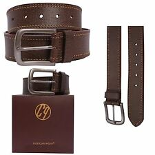 New Mens Brown Double Border Stitched Real Leather Buckle Belts S-3XL