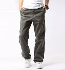 Mens loose straight leg outdoor work overalls cotton cargo pants trousers 29-42