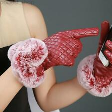Women Lady PU Leather Gloves Warm Winter Touch Screen Faux Rabbit Fur Mittens R8