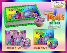 Trolls Movie Birthday Cake topper Edible sugar cupcakes picture paper sheet easy
