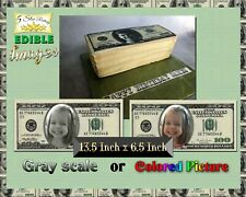 Face Money Birthday cake topper Edible picture image sugar paper bills DOLLARS