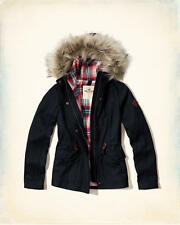 NWT Hollister-Abercrombie Wool Anorak Jacket Plaid-Lined Coat Navy XS/S/M/L/XL