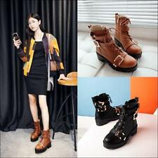 Womens Gothic Motorcycle Ankle Boots zip up Punk Buckle Block Heels Shoes Pumps