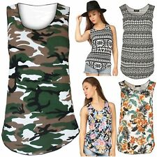 Womens Ladies Floral Flower Army Printed Vest Stretchy Sleeveless Tee Shirt Top