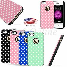 Polka-dot Hybrid TPU Soft Rubber Bumper Shockproof Case Cover For Apple iPhone 5