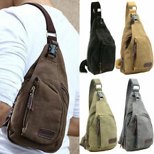 Mens Small Canvas Rucksack Military Messenger Crossbody Travel Shoulder Backpack