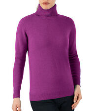 WoolOvers Womens Lambswool Long Sleeve Polo Neck Jumper Winter Warm Sweater Top