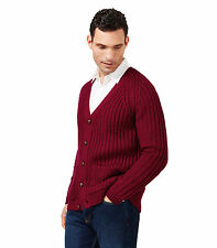 WoolOvers Mens Pure Wool Rib V Neck Button Front Long Sleeve Knitted Cardigan