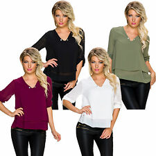 Long Sleeve Shirt Blouse Tunic Top Turn-up Needle Crepe Woven Office S 34 36