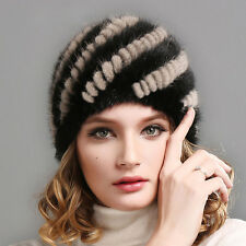 Real Mink Fur Hat Cap Handmade New Coming Winter Warm Knitted Mink Fur Hat Top