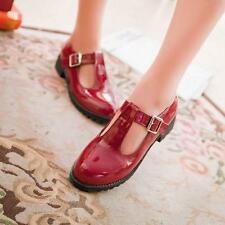 Womens girls preppy style T Strap Flat Mary Jane Pump Comfort shoes Plus Size