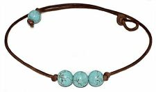 3 Triple Turquoise Bead Genuine Leather Cord Choker Necklace, Slip Knot Closure