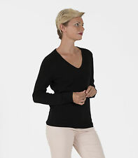WoolOvers Womens Pure Cashmere V Neck Long Sleeve Jumper Winter Warm Sweater Top