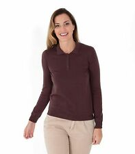 WoolOvers Womens 100% Merino Long Sleeve Collared Stylish Polo Shirt Blouse Top