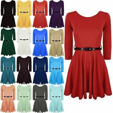 Womens Ladies 3/4 Short Sleeves Belted Flared Franki Party Top Skater Mini Dress