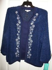 CATHY DANIELS BLUE WHITE EMBROIDERED FLORAL MOCK LAYER CARDIGAN SWEATER 1X 3X