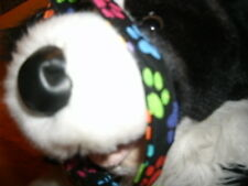 X-Small Handmade Fabric Dog Collar -  Colorful Paw Prints On Black