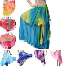 Professional Belly Dance Costume Waves 3 Layer Long Maxi Skirt Dancing Dress