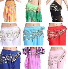 Belly Dance Belt Hip Scarf Skirt Wrap Belt Gold 3-rows 128 Coins Pants Costume