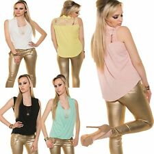 Ladies 2-in-1 Sleeveless Top Shirt Blouse Party Top Crinkle Leisure S 34 36 38
