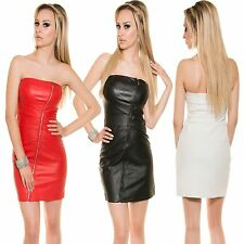 Sexy Women Bandeau Mini/ Leather dress strapless Party Clubwear S 34 36