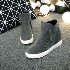 Fashion Womens flat shoes Suede Zipper Hidden Wedge heel Ankle Boots sneaker