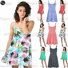 Womens Ladies 50's Vintage Rockabilly Polka Dots Sleeveless Floral Swing Dress